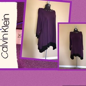 Calvin Klein purple& black long sleeve blouse sz1x